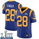 Men's Marshall Faulk Rams Royal Blue Stitched Jersey Super Bowl LIII #28