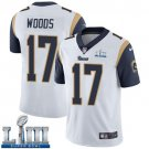 Men's Robert Woods Rams White Stitched Jersey Super Bowl LIII #17 Road