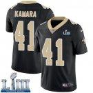 Saints #41 Alvin Kamara Men's Home Black Stitched Jersey Super Bowl LIII