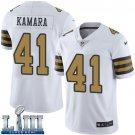 Saints #41 Alvin Kamara Men's White Stitched Jersey Super Bowl LIII Rush