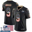 Saints #9 Drew Brees Men's Black Stitched Jersey Super Bowl LIII USA Flag