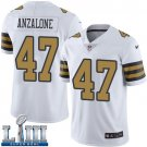 Saints #47 Alex Anzalone Men's White Stitched Jersey Super Bowl LIII Rush