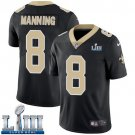 Saints #8 Archie Manning Men's Home Black Stitched Jersey Super Bowl LIII