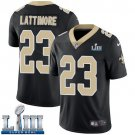 Saints #23 Marshon Lattimore Men's Home Black Stitched Jersey Super Bowl LIII