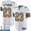 Saints #23 Marshon Lattimore Men's White Stitched Jersey Super Bowl LIII Rush