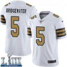 Saints #5 Teddy Bridgewater Men's White Stitched Jersey Super Bowl LIII Rush