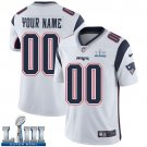 Patriots Men's Road White Stitched Jersey Super Bowl LIII Customized