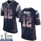 Patriots #12 Tom Brady Elite Men's Home Navy Blue Stitched Jersey Super Bowl LIII Drift Fashion