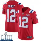 Patriots #12 Tom Brady Men's Alternate Red Stitched Jersey Super Bowl LIII