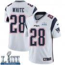 Patriots #28 James White Men's Road White Stitched Jersey Super Bowl LIII