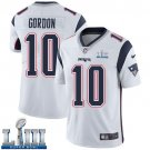 Patriots #10 Josh Gordon Men's Road White Stitched Jersey Super Bowl LIII