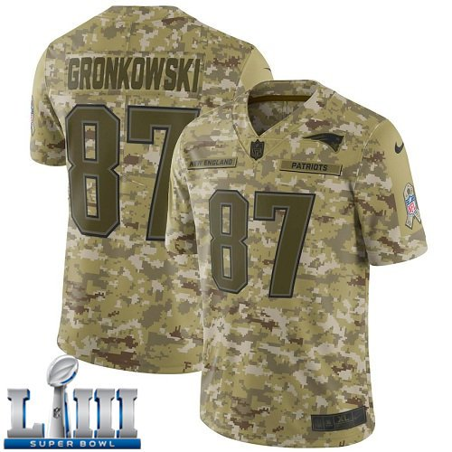 Patriots #87 Rob Gronkowski Men's Camo Stitched Jersey Super Bowl LIII