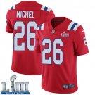 Patriots #26 Sony Michel Men's Alternate Red Stitched Jersey Super Bowl LIII
