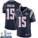 Patriots #15 Chris Hogan Men's Home Navy Blue Stitched Jersey Super Bowl LIII