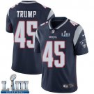 Patriots #45 Donald Trump Men's Home Navy Blue Stitched Jersey Super Bowl LIII