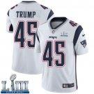 Patriots #45 Donald Trump Men's Road White Stitched Jersey Super Bowl LIII