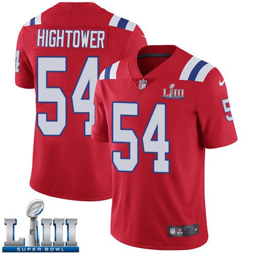 Patriots #54 Dont'a Hightower Men's Alternate Red Stitched Jersey Super Bowl LIII