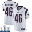 Patriots #46 James Develin Men's Road White Stitched Jersey Super Bowl LIII