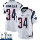 Patriots #34 Rex Burkhead Men's Road White Stitched Jersey Super Bowl LIII