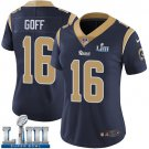 Women's Jared Goff Rams Navy Blue Stitched Jersey Super Bowl LIII #16 Home