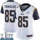 Women's Jack Youngblood Rams White Stitched Jersey Super Bowl LIII #85 Road