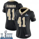 Saints #41 Alvin Kamara Women's Home Black Stitched Jersey Super Bowl LIII