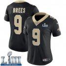Saints #9 Drew Brees Women's Home Black Stitched Jersey Super Bowl LIII