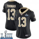 Saints #13 Michael Thomas Women's Home Black Stitched Jersey Super Bowl LIII