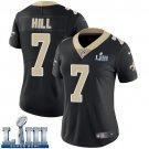 Saints #7 Taysom Hill Women's Home Black Stitched Jersey Super Bowl LIII