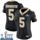 Saints #5 Teddy Bridgewater Women's Home Black Stitched Jersey Super Bowl LIII