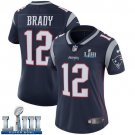Patriots #12 Tom Brady Women's Home Navy Blue Stitched Jersey Super Bowl LIII