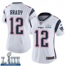 Patriots #12 Tom Brady Women's Road White Stitched Jersey Super Bowl LIII