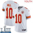 Youth Chiefs #10 Tyreek Hill White Stitched Jersey Super Bowl LIII