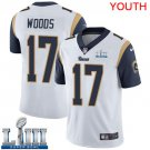 Youth Robert Woods Rams White Stitched Jersey Super Bowl LIII #17 Road