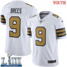 Saints #9 Drew Brees Youth White Stitched Jersey Super Bowl LIII Rush