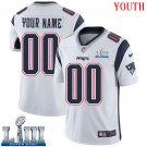 Patriots Youth Road White Stitched Jersey Super Bowl LIII Customized