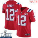 Patriots #12 Tom Brady Youth Alternate Red Stitched Jersey Super Bowl LIII