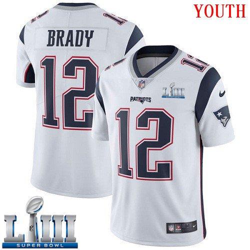 Patriots #12 Tom Brady Youth Road White Stitched Jersey Super Bowl LIII