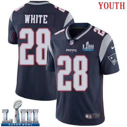 Patriots #28 James White Youth Home Navy Blue Stitched Jersey Super Bowl LIII