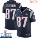 Patriots #87 Rob Gronkowski Youth Home Navy Blue Stitched Jersey Super Bowl LIII