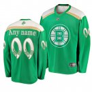 Men's Bruins #00 Custom 2019 St. Patrick's Day Green Stitched Jersey
