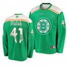 Men's Bruins Jaroslav Halak 2019 St. Patrick's Day Green Stitched Jersey