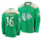 Men's Blackhawks #16 Marcus Kruger 2019 St. Patrick's Day Green Stitched Jersey
