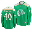 Men's Blackhawks #40 John Hayden 2019 St. Patrick's Day Green Stitched Jersey