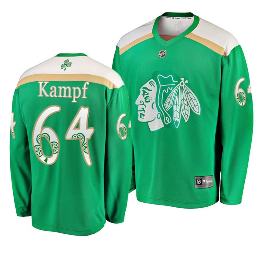 Men's Blackhawks #64 David Kampf 2019 St. Patrick's Day Green Stitched Jersey