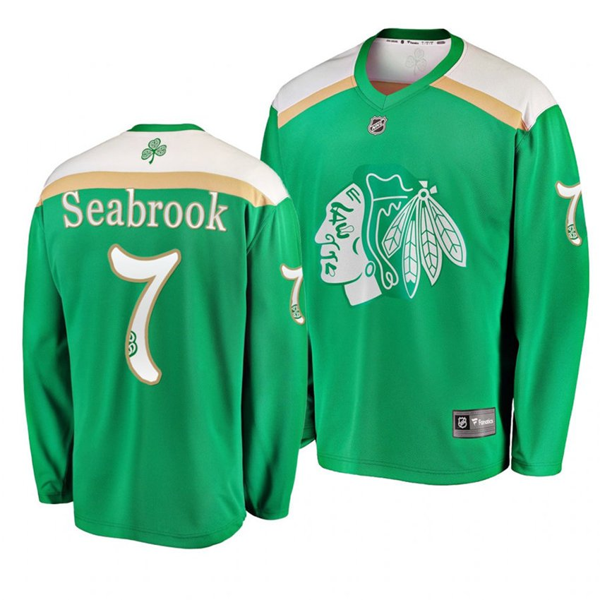 Men's Blackhawks #7 Brent Seabrook 2019 St. Patrick's Day Green Stitched Jersey