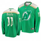 Men's Devils #11 Brian Boyle 2019 St. Patrick's Day Green Stitched Jersey