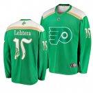 Men's Flyers #15 Jori Lehtera 2019 St. Patrick's Day Green Stitched Jersey