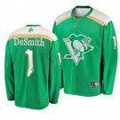Men's Penguins #1 Casey DeSmith 2019 St. Patrick's Day Green Stitched Jersey