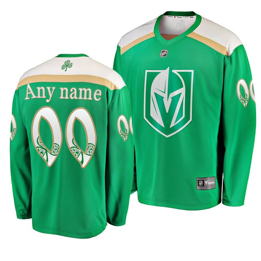 Men's Golden Knights #00 Custom 2019 St. Patrick's Day Green Stitched Jersey